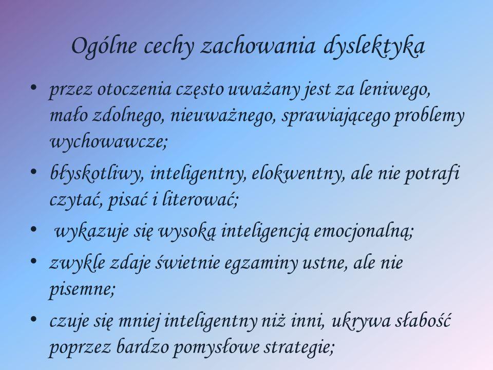 Ogólne cechy zachowania dyslektyka