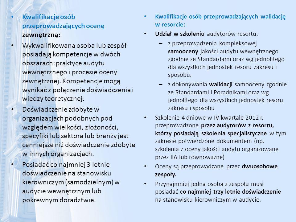 Kwalifikacje osób przeprowadzających ocenę zewnętrzną: