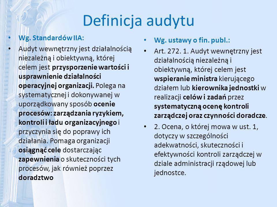 Definicja audytu Wg. Standardów IIA: Wg. ustawy o fin. publ.: