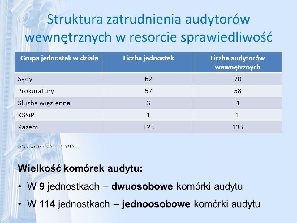 Grupa jednostek w dziale Liczba audytorów wewnętrznych