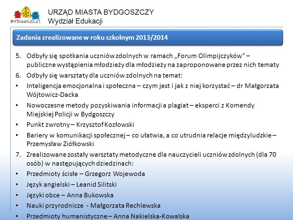 Zadania zrealizowane w roku szkolnym 2013/2014