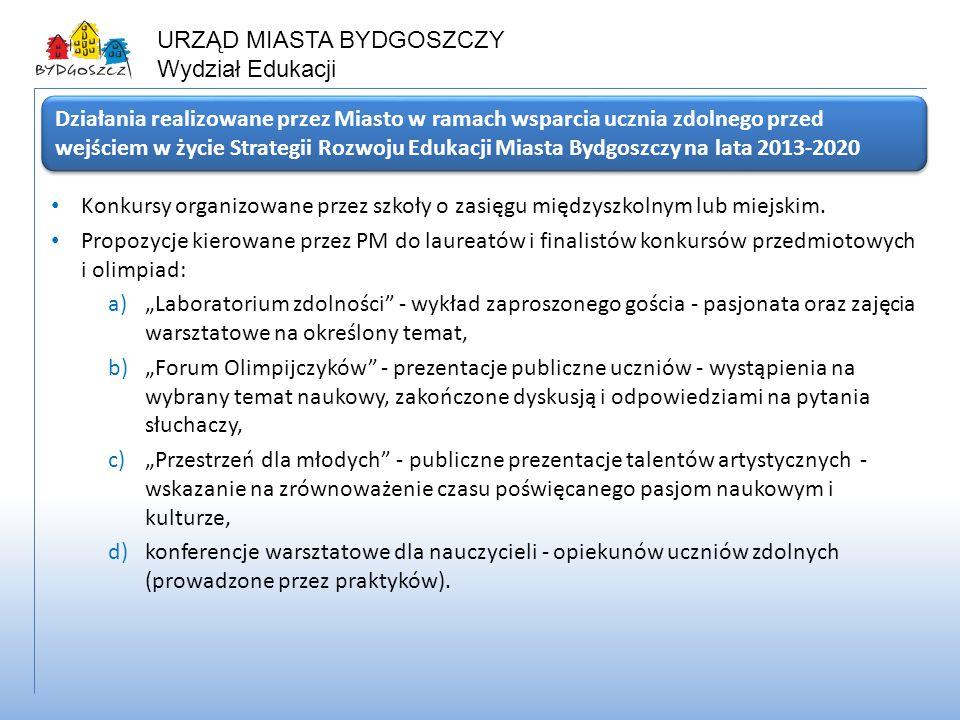 Działania realizowane przez Miasto w ramach wsparcia ucznia zdolnego przed wejściem w życie Strategii Rozwoju Edukacji Miasta Bydgoszczy na lata 2013-2020