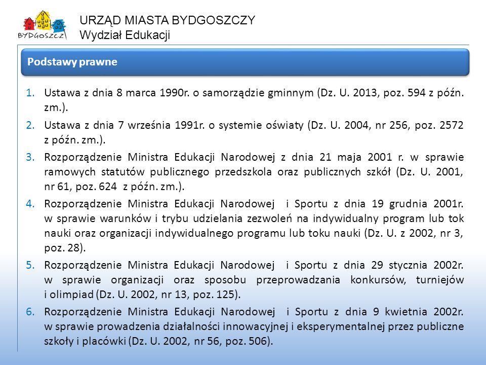Podstawy prawne Ustawa z dnia 8 marca 1990r. o samorządzie gminnym (Dz. U. 2013, poz. 594 z późn. zm.).