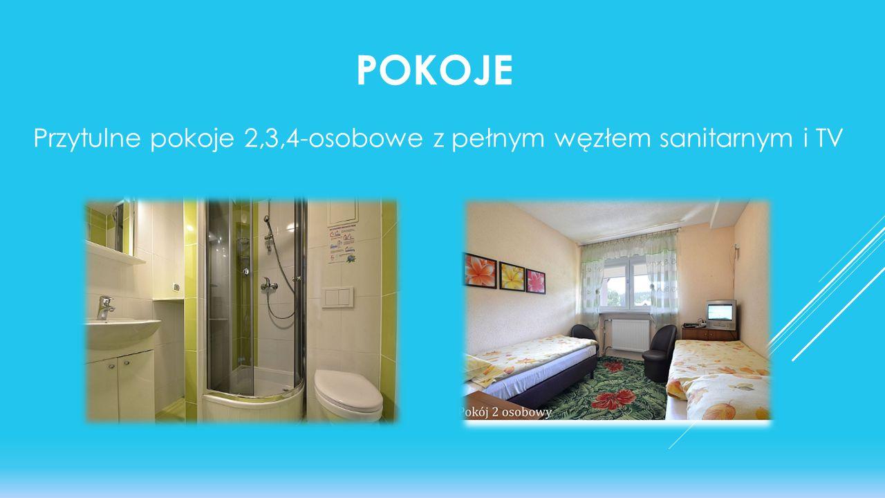 Przytulne pokoje 2,3,4-osobowe z pełnym węzłem sanitarnym i TV