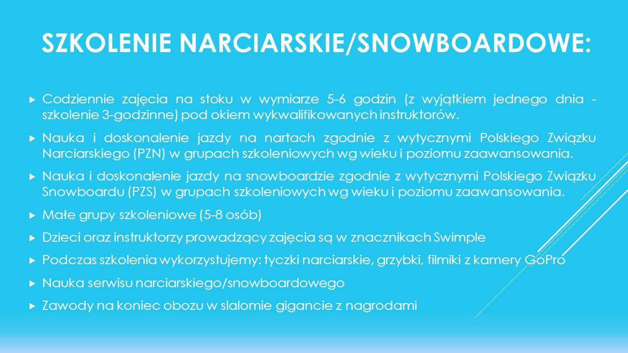 Szkolenie narciarskie/snowboardowe:
