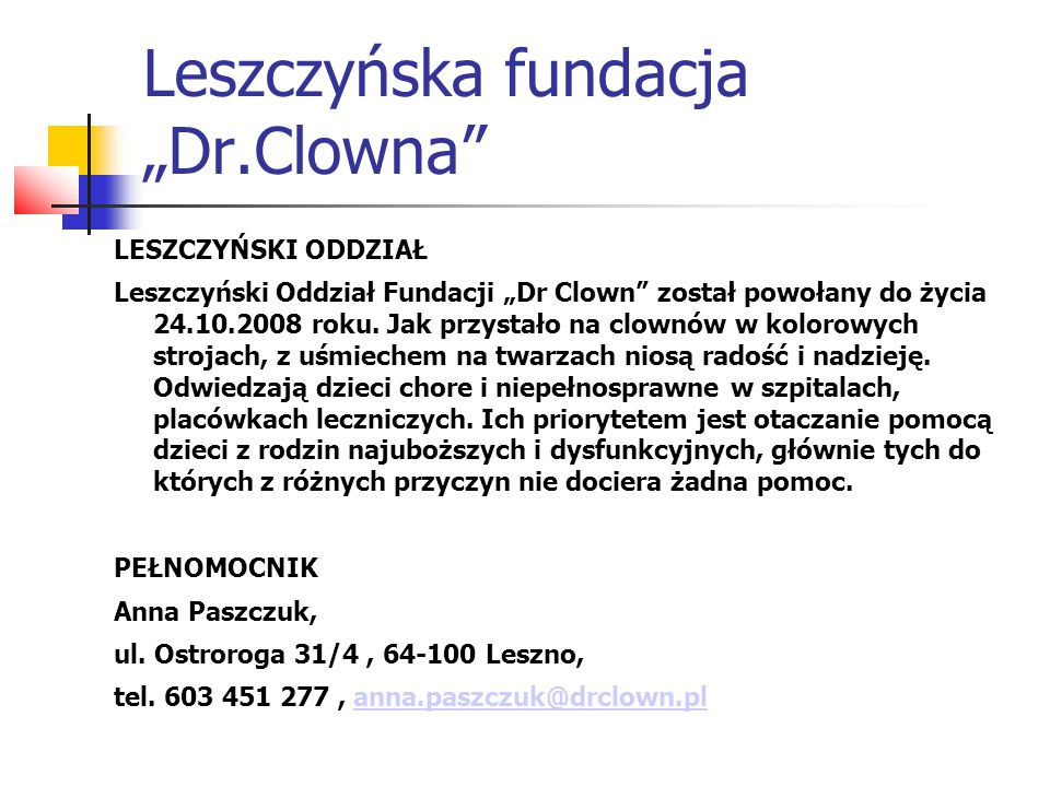 """Leszczyńska fundacja """"Dr.Clowna"""