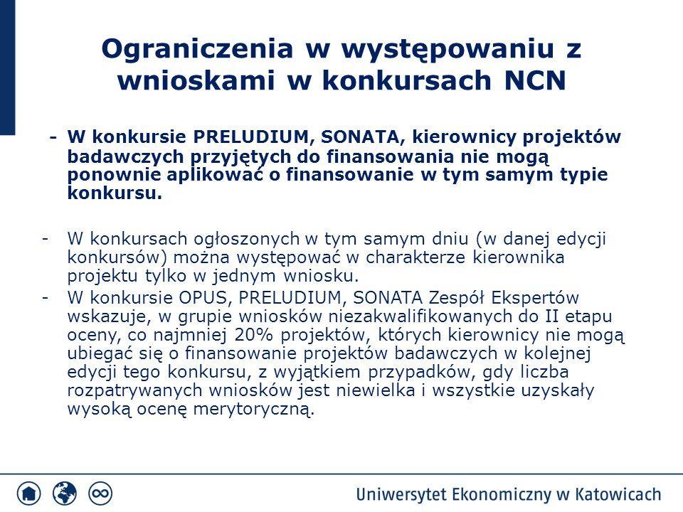 Ograniczenia w występowaniu z wnioskami w konkursach NCN