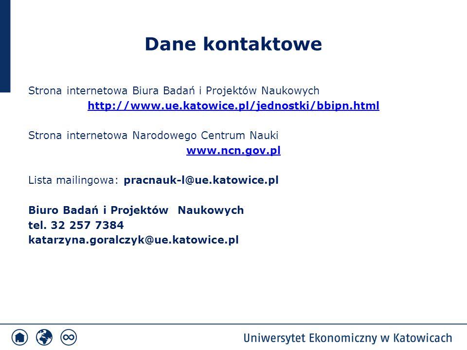 Dane kontaktowe Strona internetowa Biura Badań i Projektów Naukowych