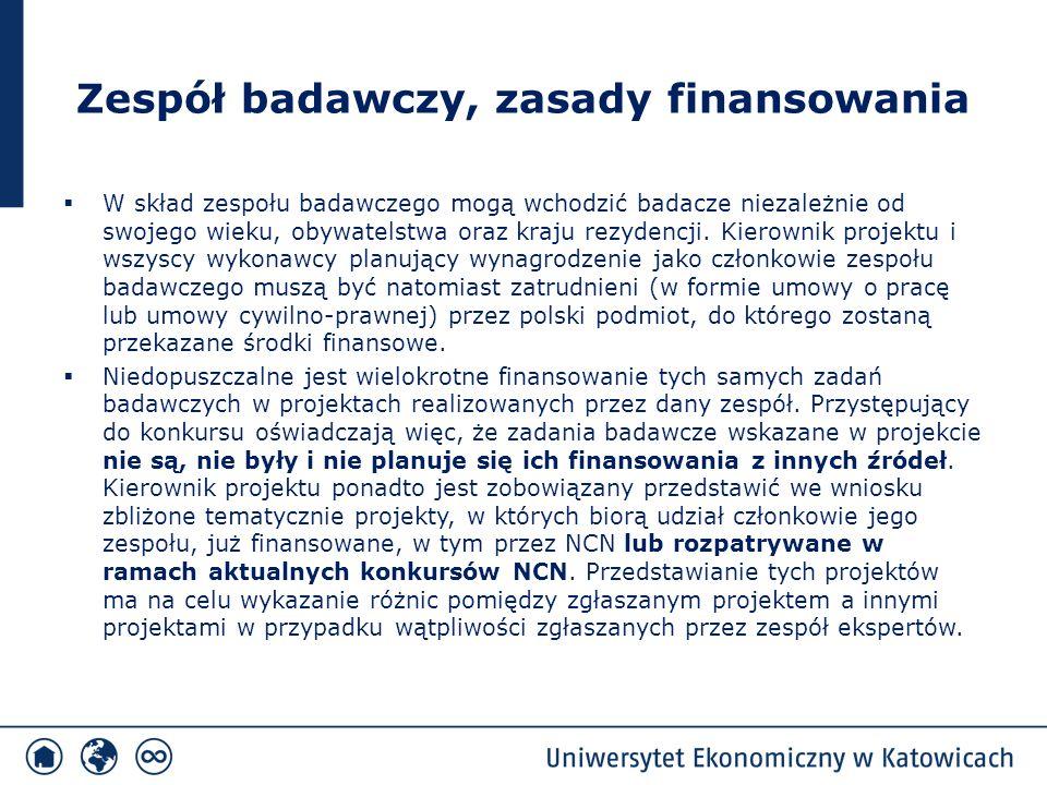Zespół badawczy, zasady finansowania