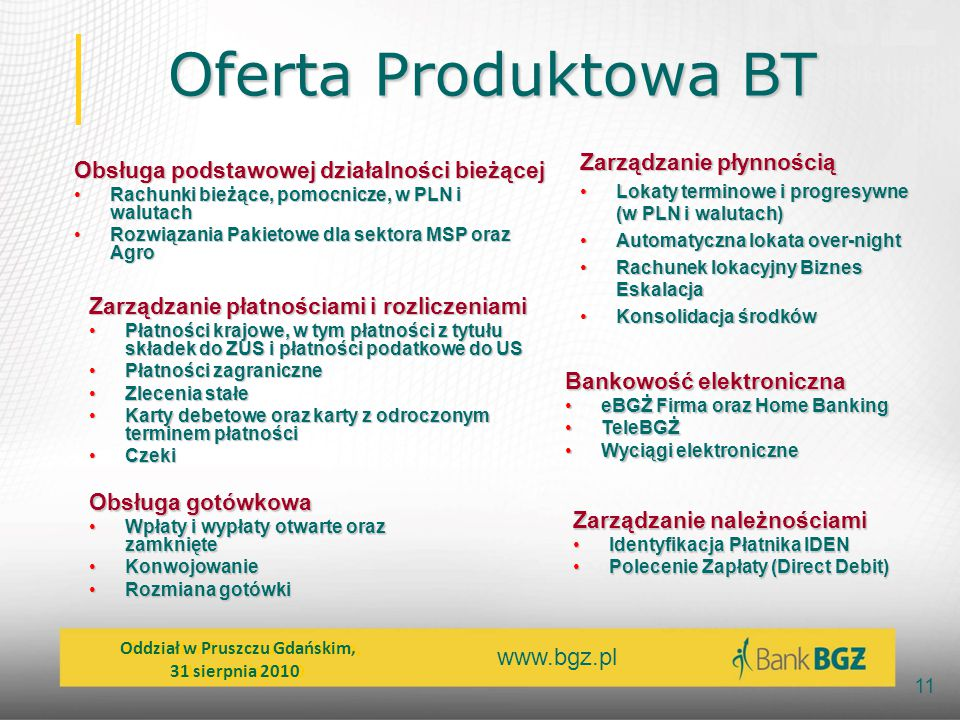 Oferta Produktowa BT Zarządzanie płynnością