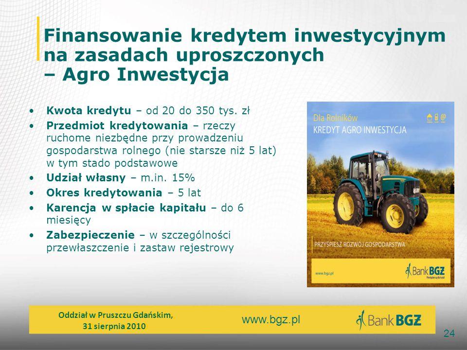 Finansowanie kredytem inwestycyjnym na zasadach uproszczonych – Agro Inwestycja