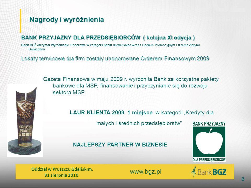 Nagrody i wyróżnienia BANK PRZYJAZNY DLA PRZEDSIĘBIORCÓW ( kolejna XI edycja )
