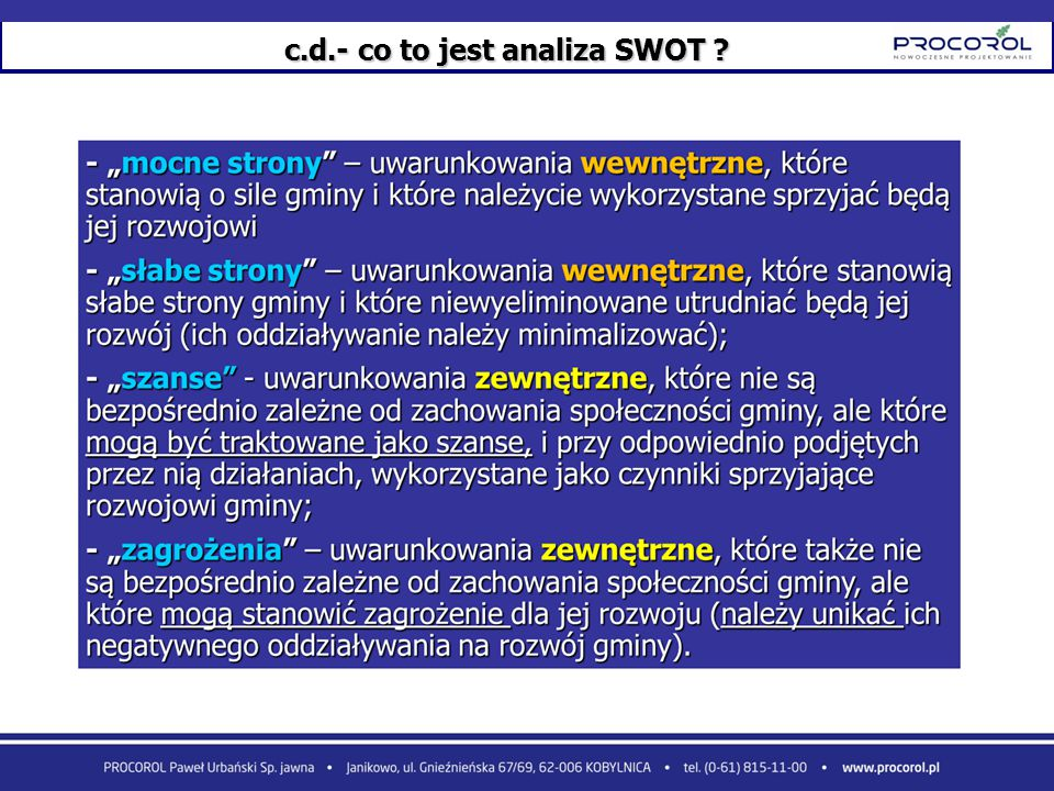 c.d.- co to jest analiza SWOT
