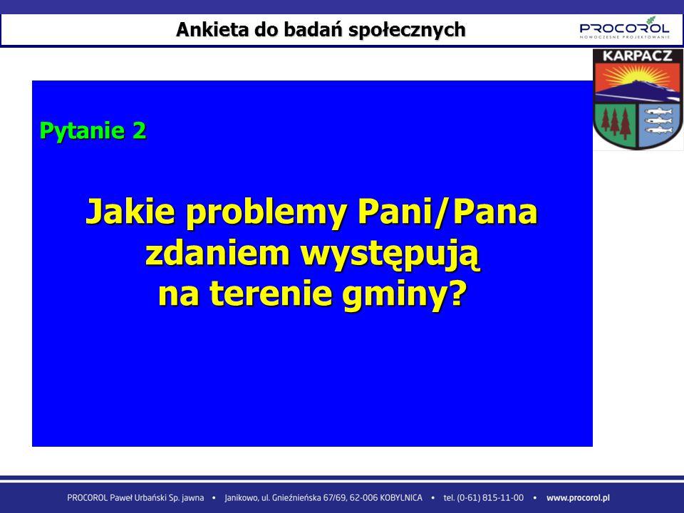 Ankieta do badań społecznych Jakie problemy Pani/Pana