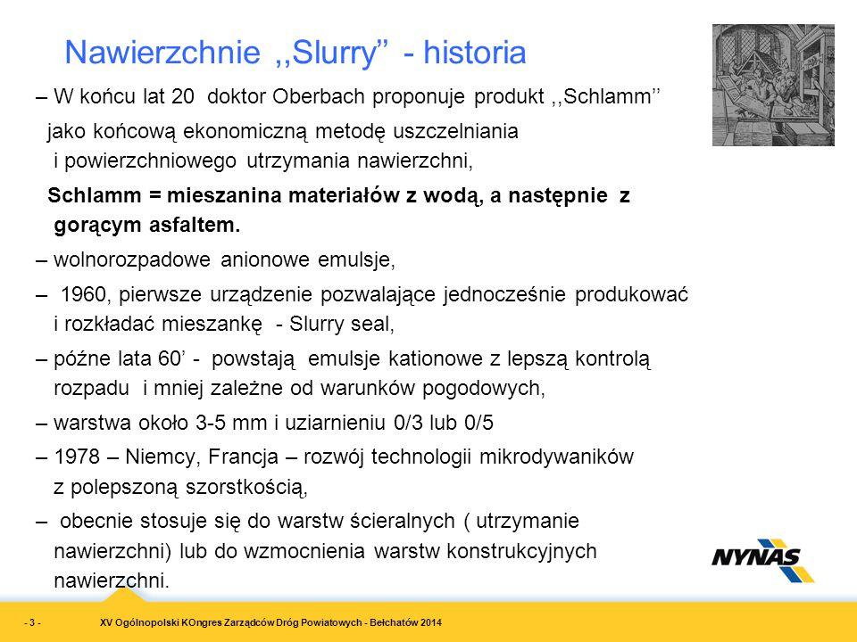 Nawierzchnie ,,Slurry'' - historia