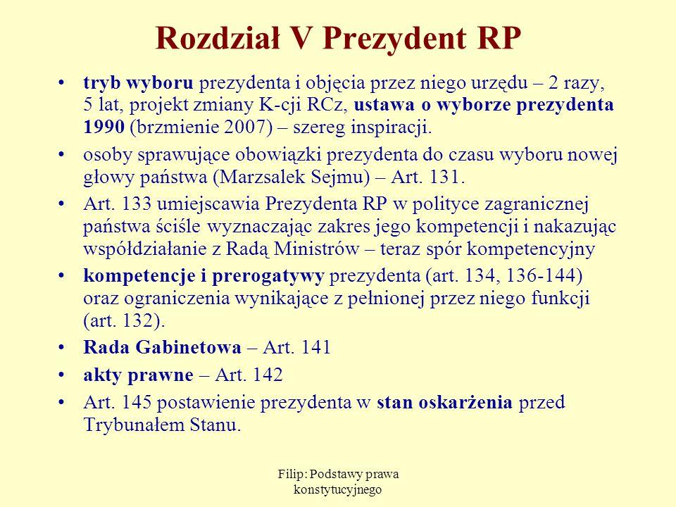 Rozdział V Prezydent RP