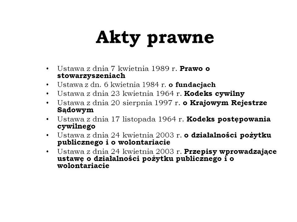 Akty prawne Ustawa z dnia 7 kwietnia 1989 r. Prawo o stowarzyszeniach