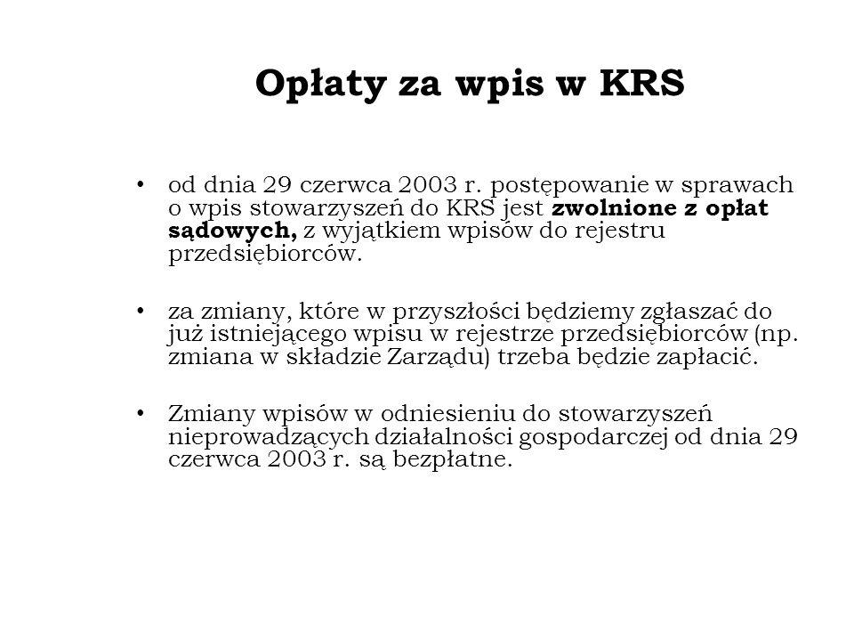 Opłaty za wpis w KRS