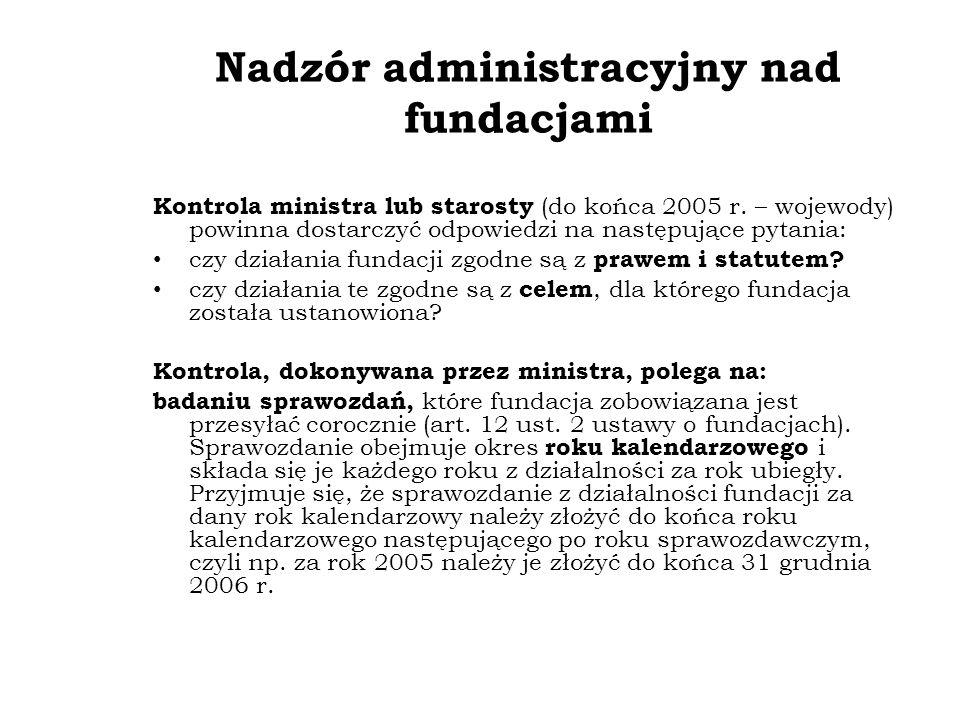 Nadzór administracyjny nad fundacjami