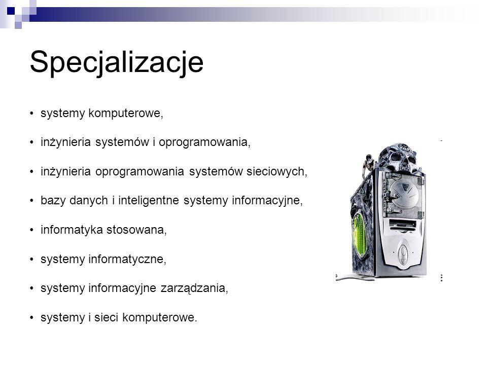 Specjalizacje • systemy komputerowe,