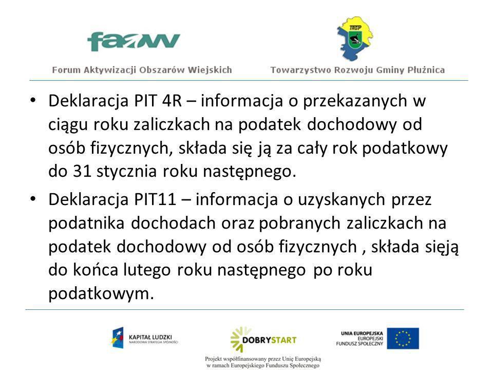 Deklaracja PIT 4R – informacja o przekazanych w ciągu roku zaliczkach na podatek dochodowy od osób fizycznych, składa się ją za cały rok podatkowy do 31 stycznia roku następnego.