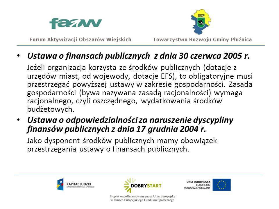 Ustawa o finansach publicznych z dnia 30 czerwca 2005 r.