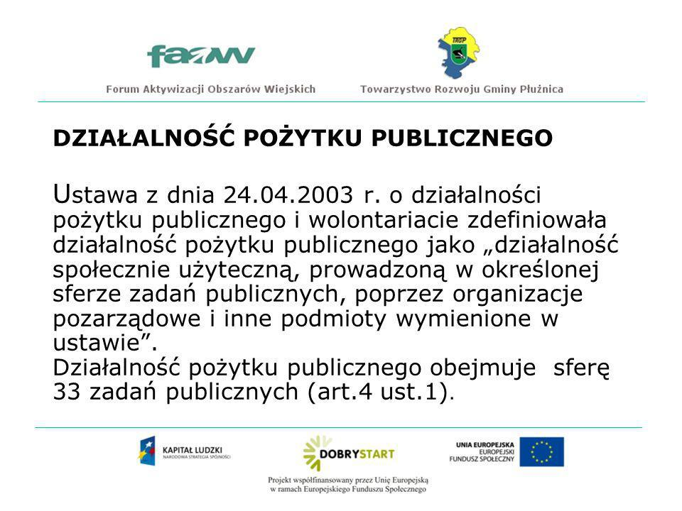 DZIAŁALNOŚĆ POŻYTKU PUBLICZNEGO Ustawa z dnia 24. 04. 2003 r
