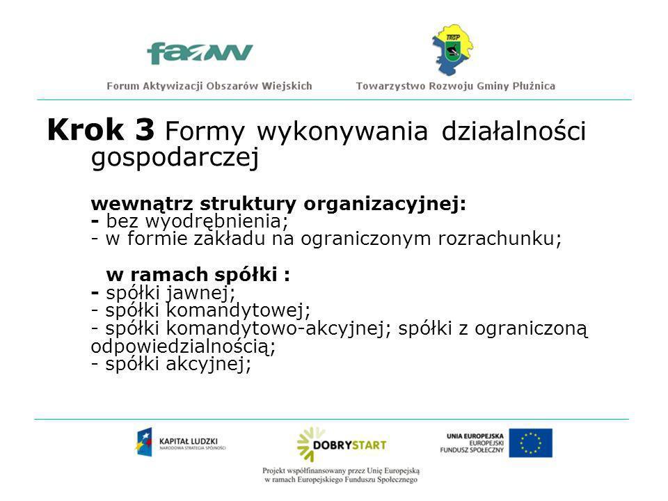 Krok 3 Formy wykonywania działalności gospodarczej wewnątrz struktury organizacyjnej: - bez wyodrębnienia; - w formie zakładu na ograniczonym rozrachunku; w ramach spółki : - spółki jawnej; - spółki komandytowej; - spółki komandytowo-akcyjnej; spółki z ograniczoną odpowiedzialnością; - spółki akcyjnej;