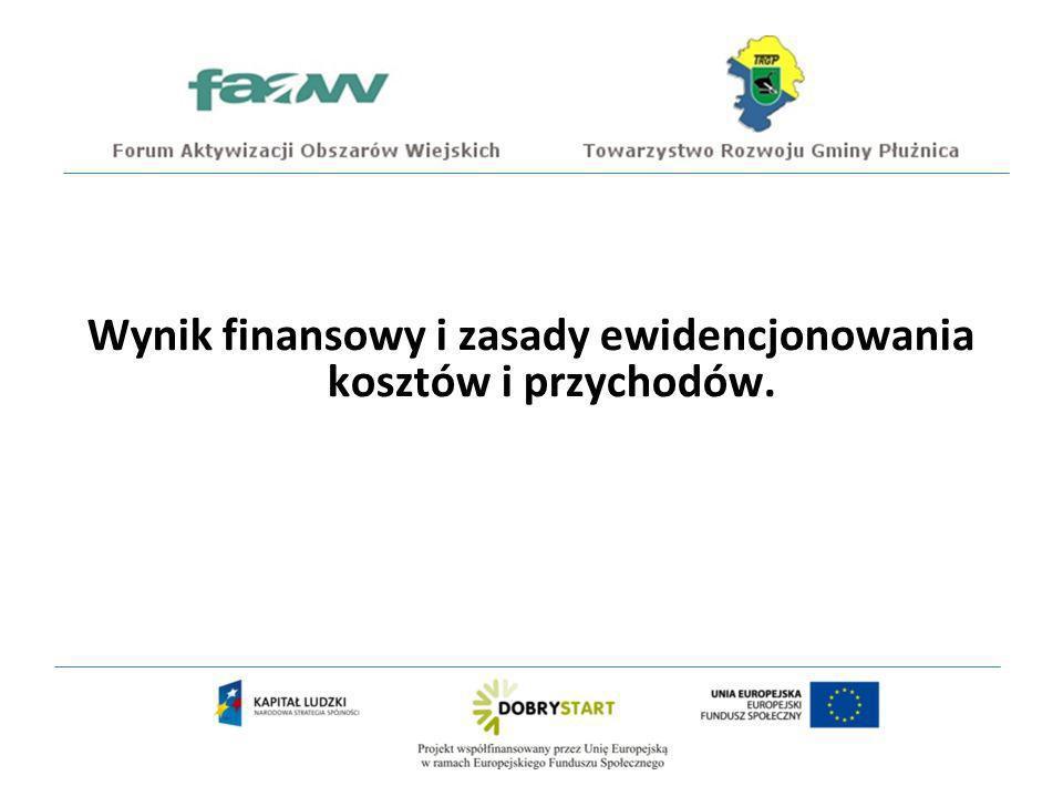 Wynik finansowy i zasady ewidencjonowania kosztów i przychodów.