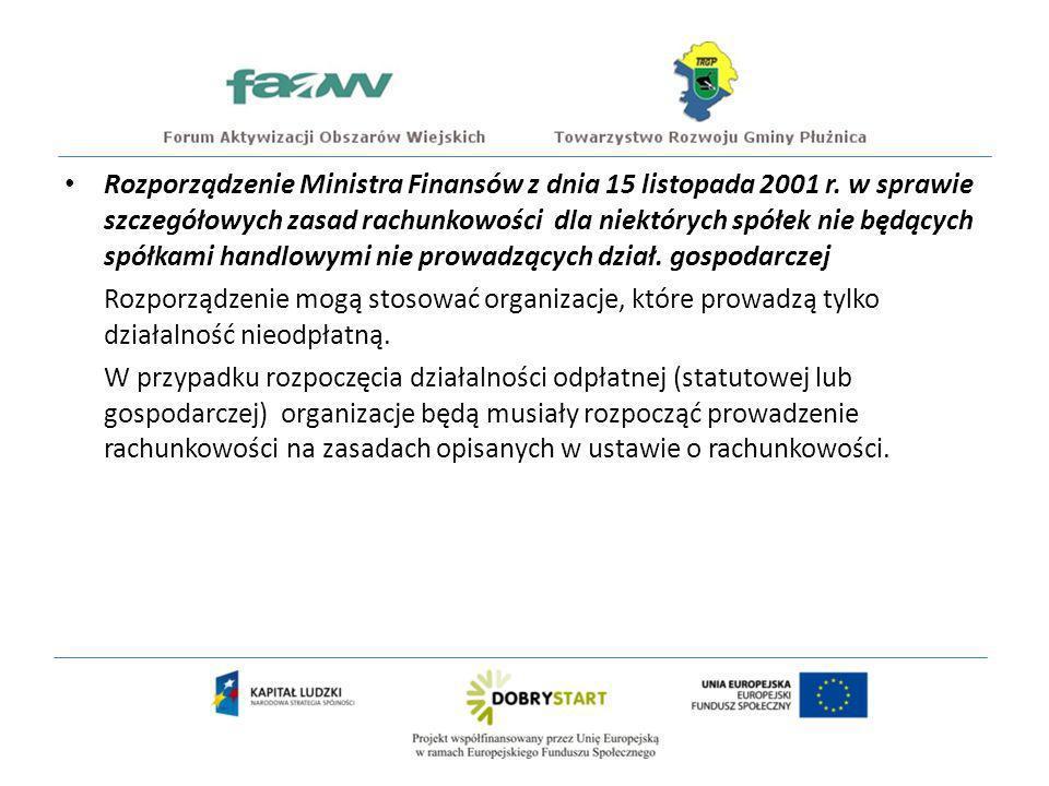 Rozporządzenie Ministra Finansów z dnia 15 listopada 2001 r