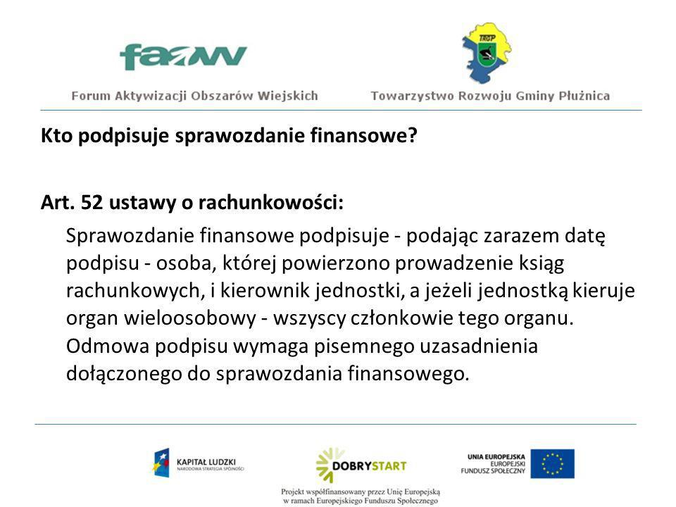 Kto podpisuje sprawozdanie finansowe