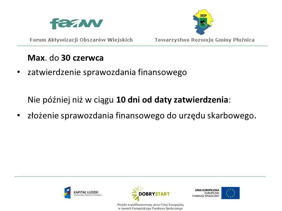 Max. do 30 czerwca zatwierdzenie sprawozdania finansowego