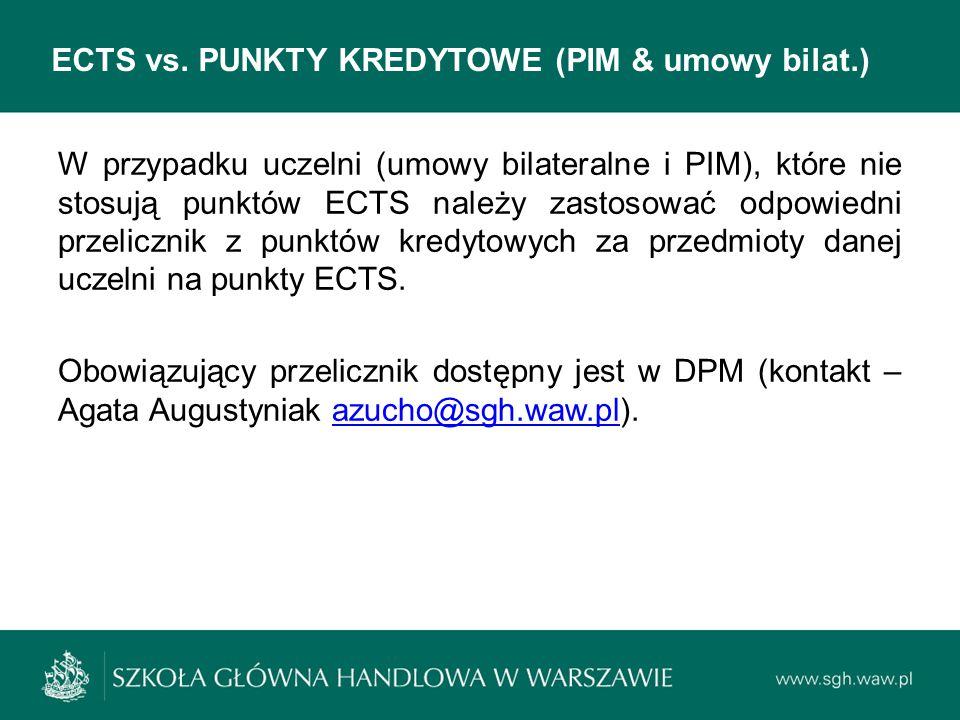 ECTS vs. PUNKTY KREDYTOWE (PIM & umowy bilat.)