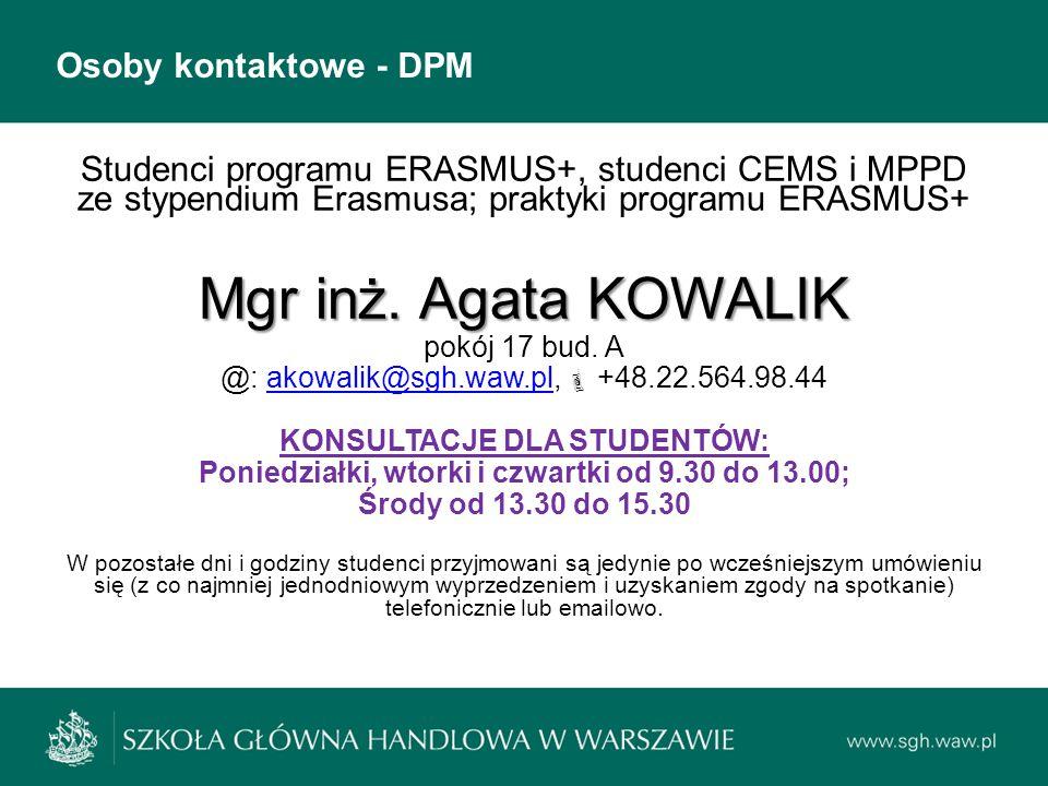 Mgr inż. Agata KOWALIK Osoby kontaktowe - DPM