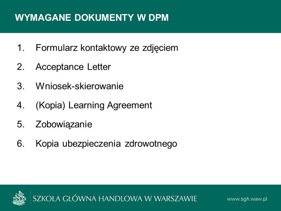 WYMAGANE DOKUMENTY W DPM