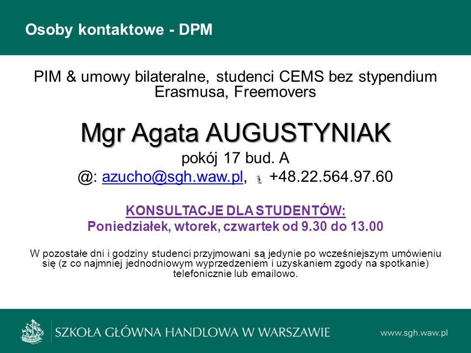 Mgr Agata AUGUSTYNIAK Osoby kontaktowe - DPM