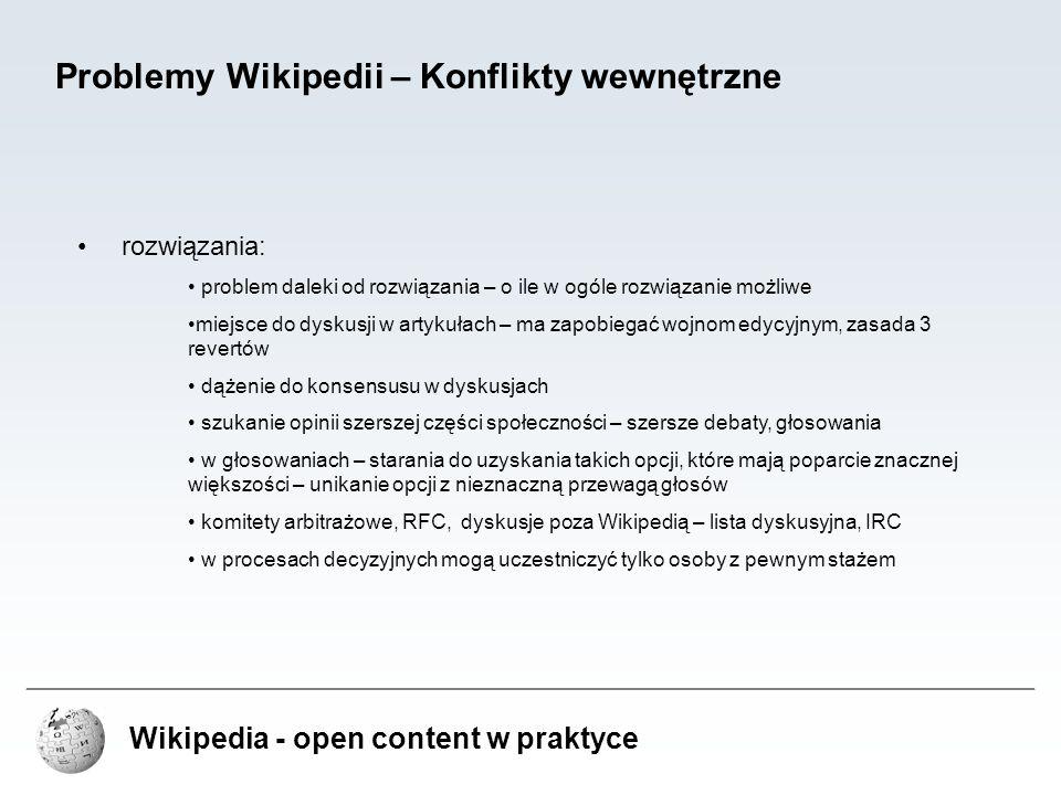Problemy Wikipedii – Konflikty wewnętrzne