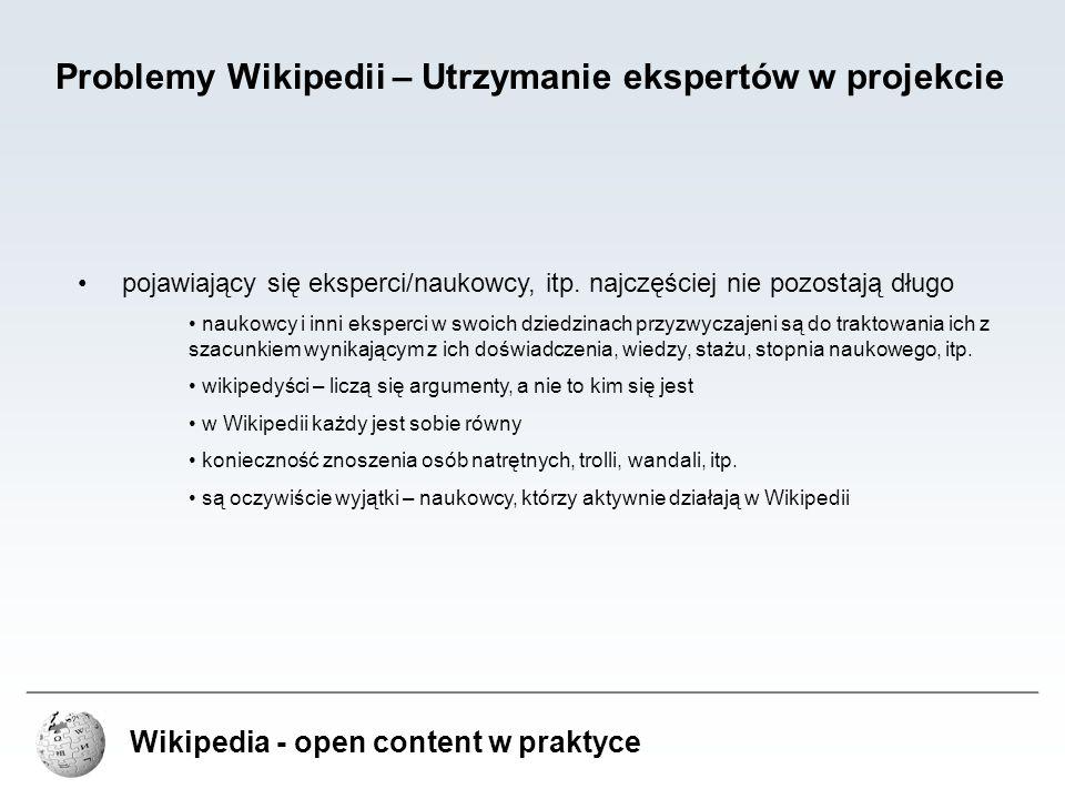 Problemy Wikipedii – Utrzymanie ekspertów w projekcie