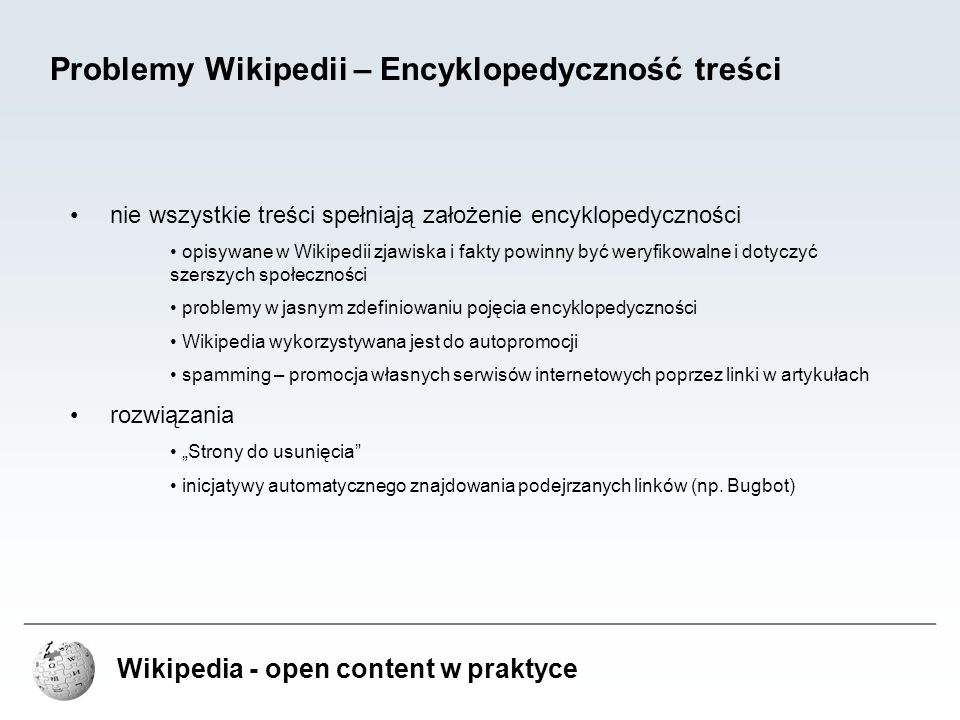 Problemy Wikipedii – Encyklopedyczność treści