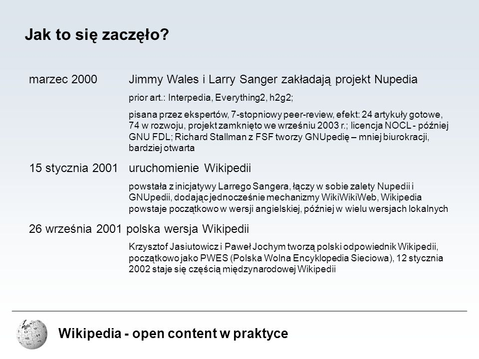 Jak to się zaczęło Wikipedia - open content w praktyce