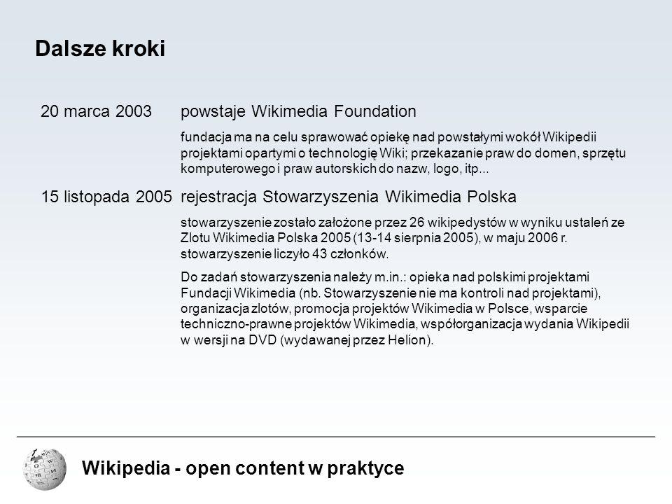 Dalsze kroki Wikipedia - open content w praktyce