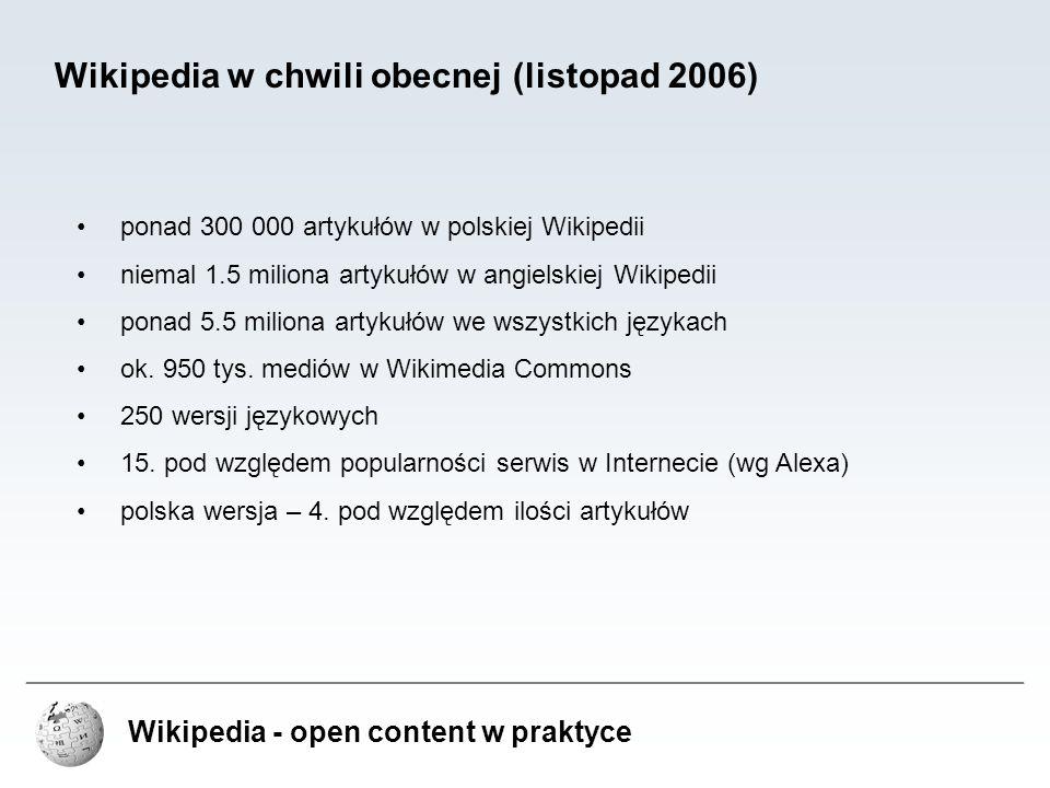 Wikipedia w chwili obecnej (listopad 2006)