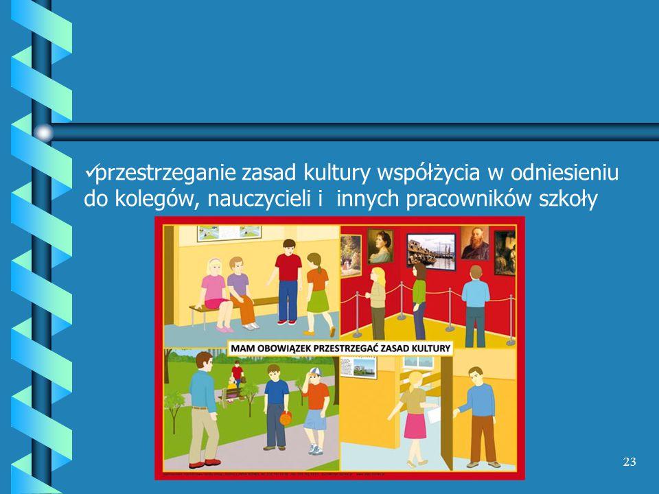 przestrzeganie zasad kultury współżycia w odniesieniu do kolegów, nauczycieli i innych pracowników szkoły