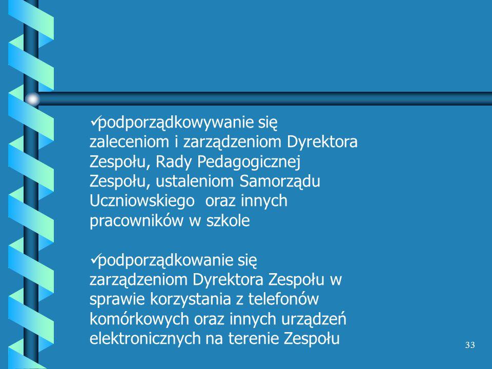 podporządkowywanie się zaleceniom i zarządzeniom Dyrektora Zespołu, Rady Pedagogicznej Zespołu, ustaleniom Samorządu Uczniowskiego oraz innych pracowników w szkole
