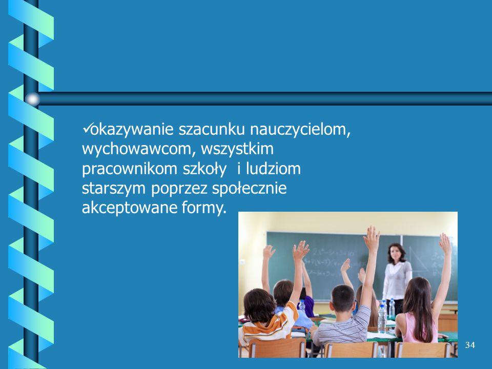 okazywanie szacunku nauczycielom, wychowawcom, wszystkim pracownikom szkoły i ludziom starszym poprzez społecznie akceptowane formy.