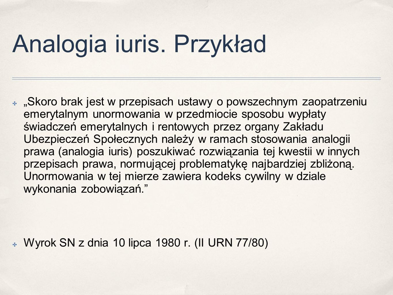 Analogia iuris. Przykład