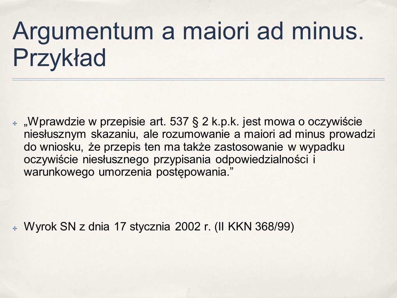 Argumentum a maiori ad minus. Przykład