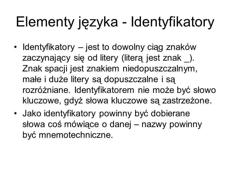 Elementy języka - Identyfikatory