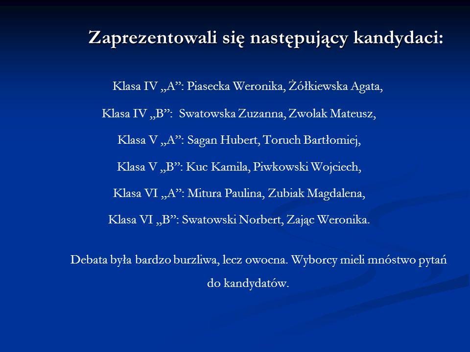 Zaprezentowali się następujący kandydaci: