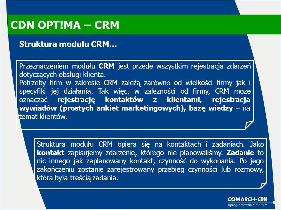 CDN OPT!MA – CRM Struktura modułu CRM…